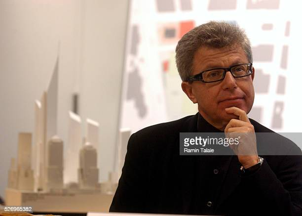 Architect Daniel Libeskind with the Lower Manhattan Development Corporation listens to a QA on the release of the revised World Trade Center plans...