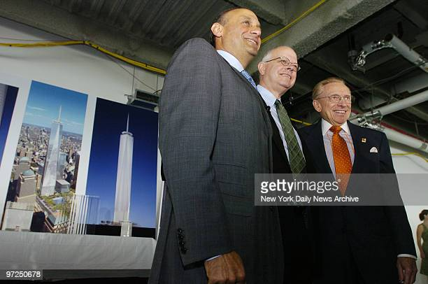 Architect David Childs is joined by Tishman Construction CEO Daniel Tishman and WTC site developer Larry Silverstein as he presents the newest...