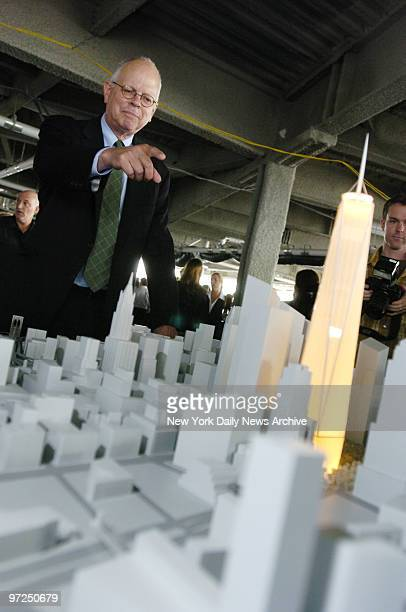 Architect David Childs points to a model of the Freedom Tower as he describes some of the newest refinements to the design during the American...