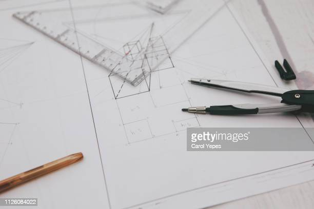 architect designer desktop.top view - geometria fotografías e imágenes de stock