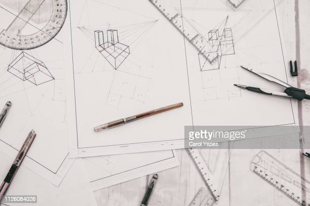architect designer desktop.top view - good condition stock pictures, royalty-free photos & images