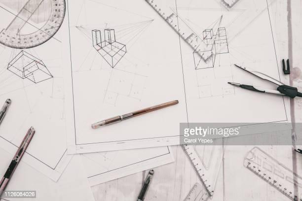 architect designer desktop.top view - blauwdruk stockfoto's en -beelden