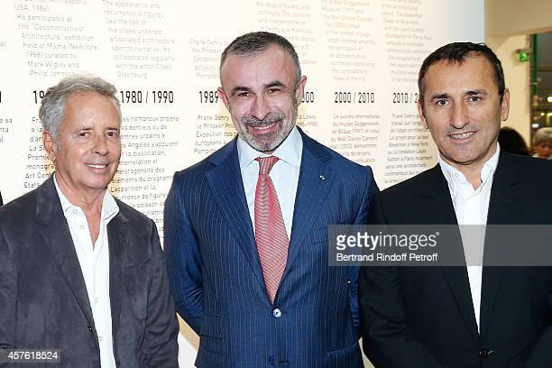 Architect Ed Tuttle President of Centre Pompidou Alain Seban and CEO of Number 23 Chanel Pascal Houzelot attend the 'Frank Gehry' Exhibition in the...