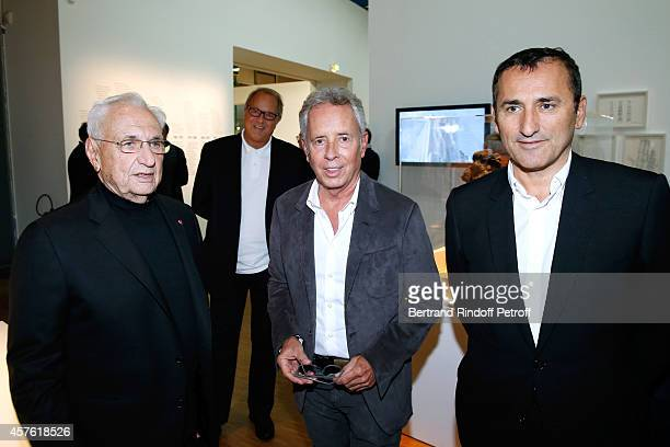 Architect Franck Gehry Architect Ed Tuttle and CEO of Number 23 Chanel Pascal Houzelot attend the 'Frank Gehry' Exhibition in the presence of Frank...