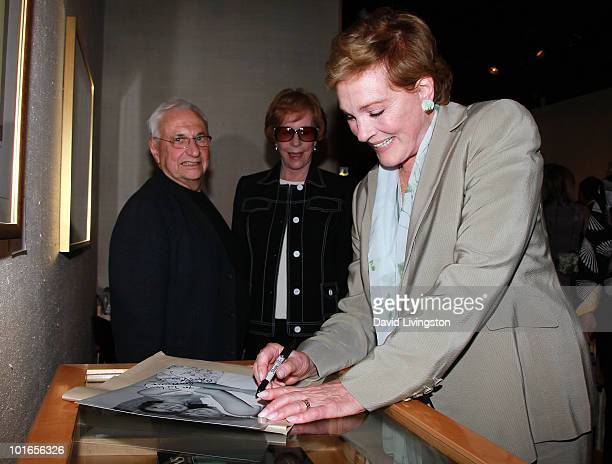 Architect Frank Gehry and actresses Carol Burnett and Julie Andrews attend Blake Edwards' art exhibit preview at Leslie Sacks Fine Art on June 5 2010...