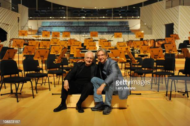 Architect Frank Gehry and Artistic Director Michael Tilson Thomas attend the preview of the New World Center at New World Center on January 25, 2011...