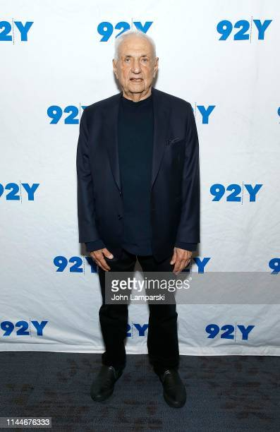Architect Frank Gehry poses before a conversation with New York Times writer Paul Goldberger at 92nd Street Y on April 23, 2019 in New York City.
