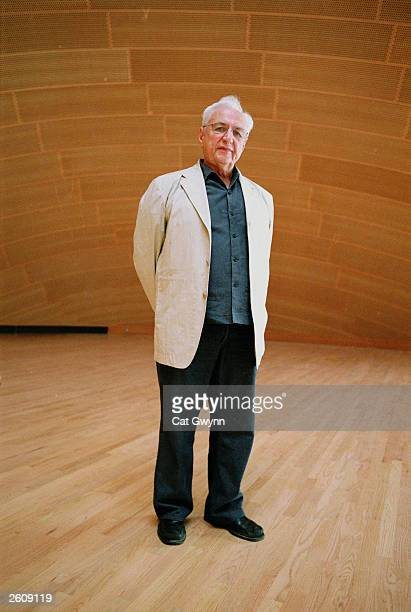 Architect Frank Gehry poses for a portrait August 14 2003 in the Walt Disney Concert Hall which he designed and which is scheduled to open in October...