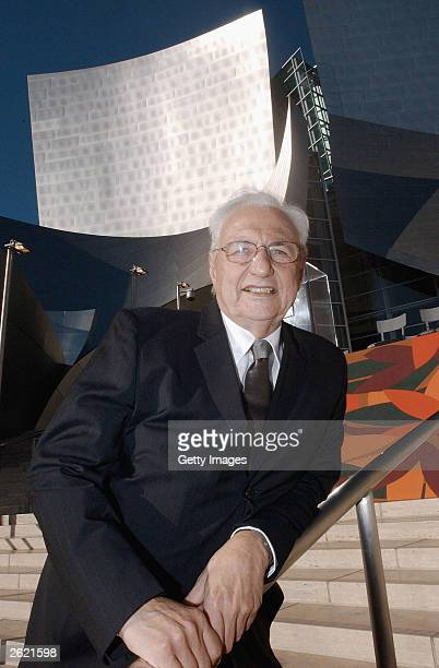 Architect Frank Gehry stands outside his newest creation the Walt Disney Concert Hall October 20 2003 in Los Angeles California The 2265seat hall...