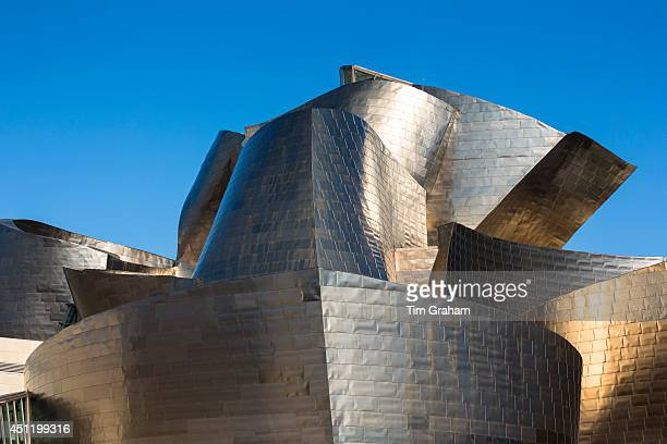 Architect Frank Gehry's Guggenheim Museum futuristic architectural design in titanium at Bilbao Basque country Spain