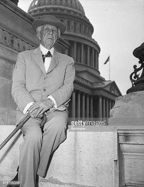 Architect Frank Lloyd Wright after speaking to the House Military Appropriations Subcommittee urging them to postpone the construction of the new Air...