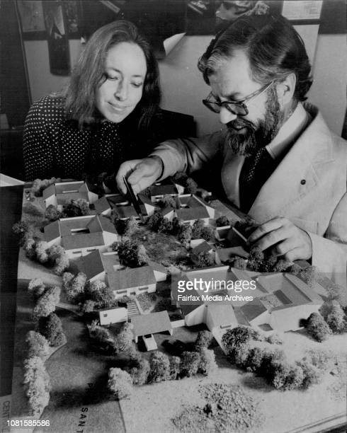 Architect Geoffrey Twibilll explains his scale model of the Central Coast Retirement Village at Bateau Bay at his Milson's Point Office to his...