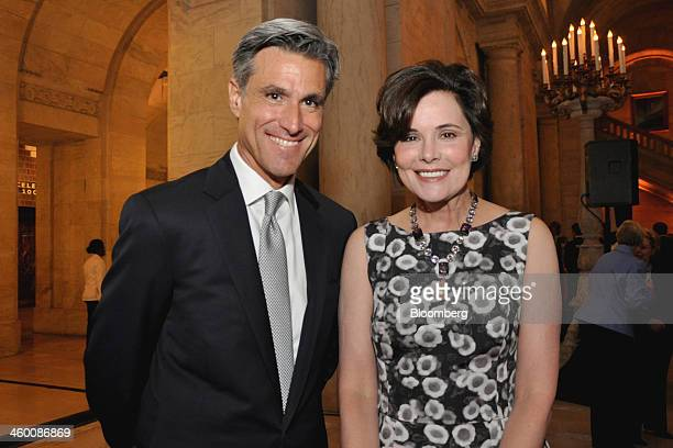 Architect Hermes Mallea left and Gayfryd Steinberg a trustee of New York Public Library attend a dinner at the New York Public Library in New York US...