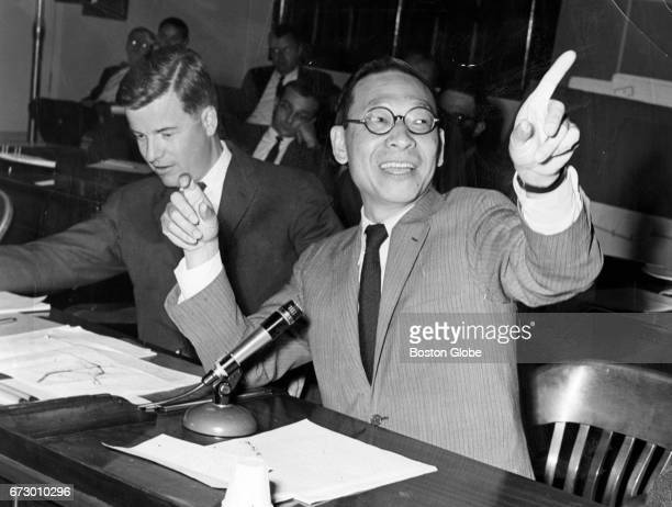 Architect IM Pei right and Harold Cobb of IM Pei Associates appear during a City Council hearing in Boston on Jul 10 1963 The pair were being...