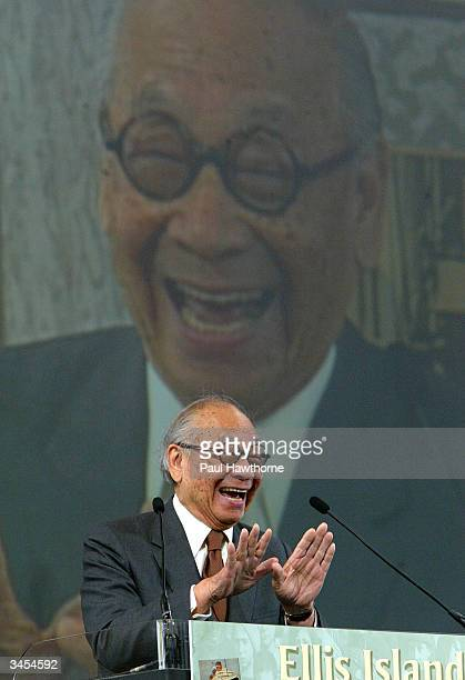 Architect IM Pei Speaks after being honored with an Ellis Island Family Heritage Awards at the Ellis Island Museum on April 21 2004 in New York City