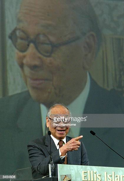 Architect IM Pei Speaks after being honored with an Ellis Island Family Heritage Awards at the Ellis Island Museum April 21 2004 in New York City