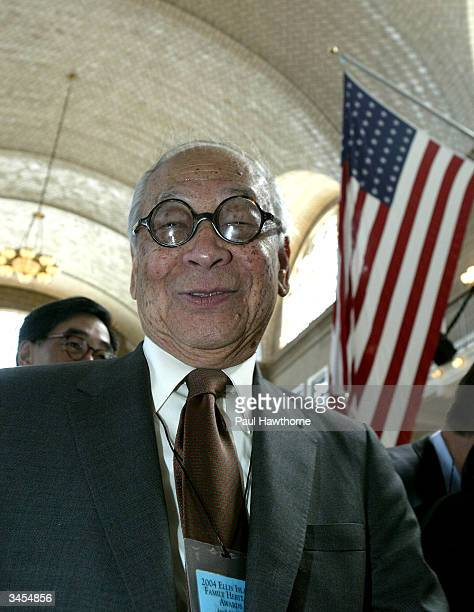Architect IM Pei stands after arriving for the Ellis Island Family Heritage Awards at the Ellis Island Museum on April 21 2004 in New York City