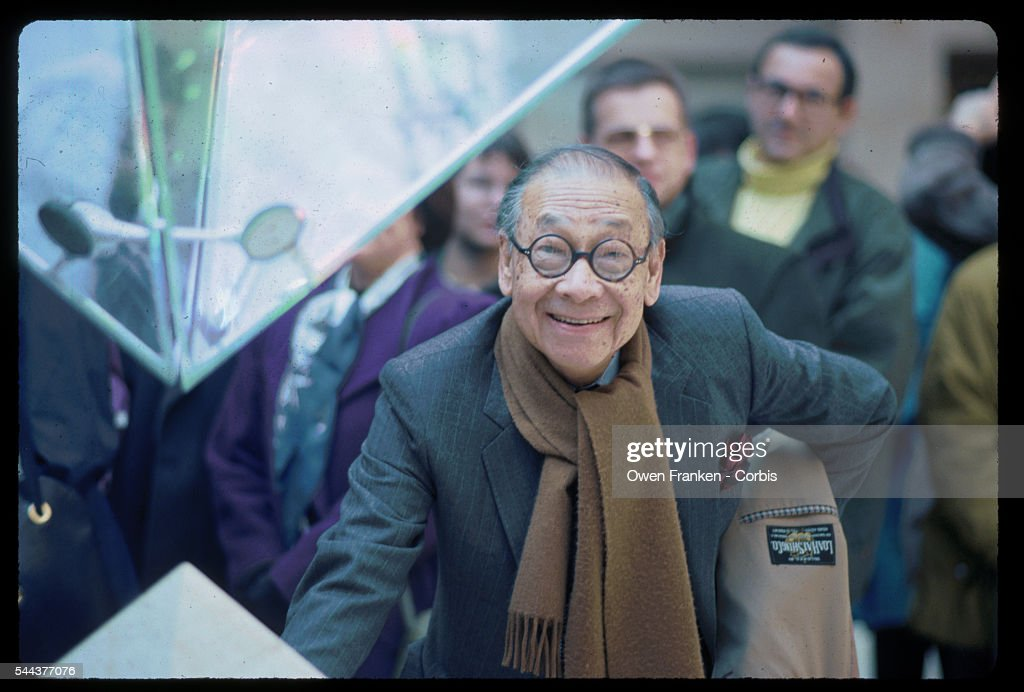 I.M. Pei at the Louvre's Inverted Pyramid : News Photo