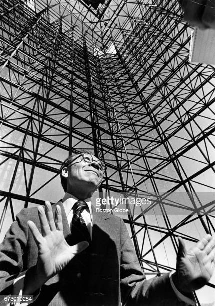 Architect IM Pei stands inside the John F Kennedy Presidential Library and Museum in Boston which he designed during a preopening press conference on...