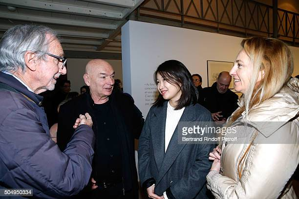 Architect Jean Nouvel and his wife Lida Guan standing between Architect Renzo Piano and his wife Milly attend the 'Jean Nouvel and Claude Parent...
