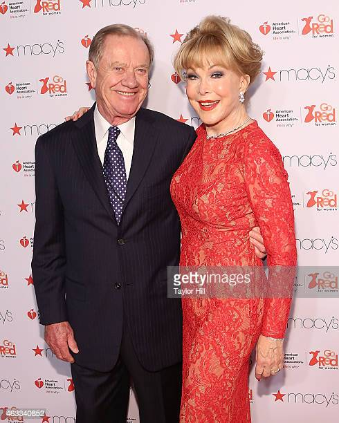 Architect Jon Eicholtz and actress Barbara Eden attend the Go Red For Women fall 2015 fashion show on February 12 2015 in New York City