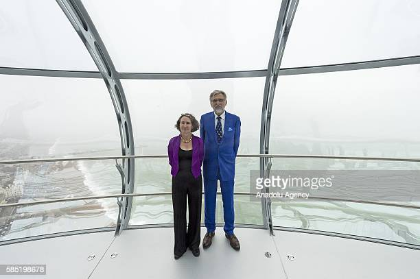 Architect Julia Barfield and David Marks pose inside the British Airways i360 observation pod on August 02 2016 in Brighton United Kingdom The...