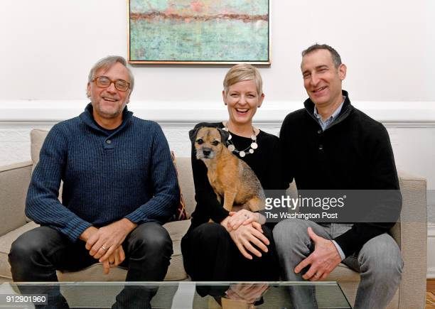 Architect Kendall Dorman of Wiebenson Dorman Architects left and his dog Raye pose with Susan Pitman center and David Feinstein January 04 2018 in...