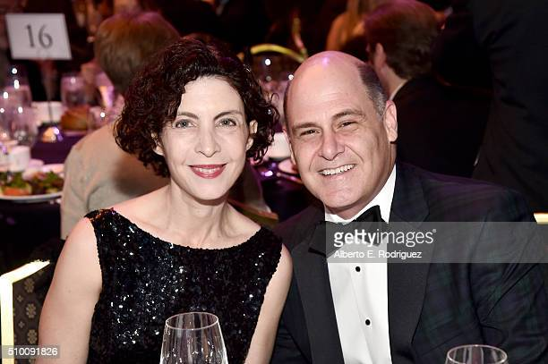 Architect Linda Brettler and writer/producer Matthew Weiner attend the Cocktail Reception before the 2016 Writers Guild Awards at the Hyatt Regency...