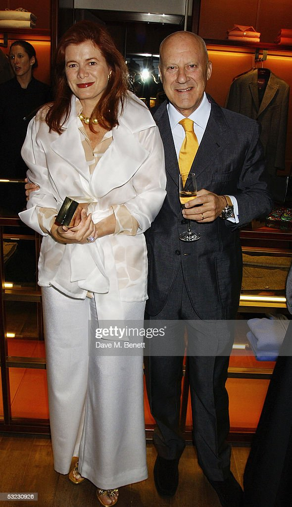 Architect Lord Norman Foster and his wife, Elena Ochoa attend Renee Fleming's private Asprey dinner party at Asprey's flagship store in Bond Street July 12, 2005 in London, England.