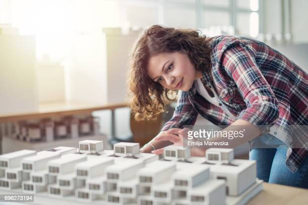 Architect making an architectural model
