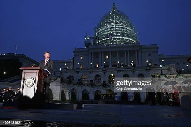 Architect of the Capitol Stephen Ayers delivers remarks during the Capitol Christmas tree lighting ceremony on the west front of the U.S. Capitol...