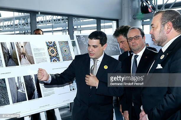 Architect of the Project Tarik Oualalou President of the 'Institut du Monde Arabe' Jack Lang French President Francois Hollande and King Mohammed VI...