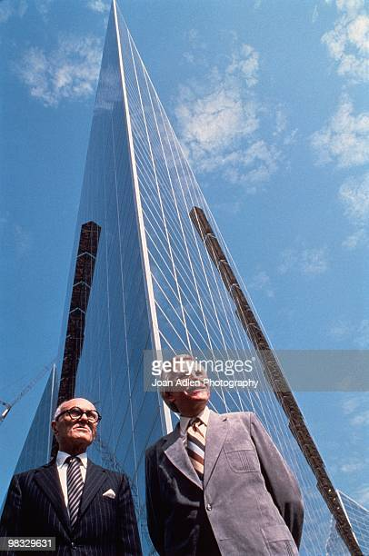 Architect Phillip Johnson and Robert Schuller outside of the newly constructed Crystal Cathedral in 1980 in Garden Grove, California.