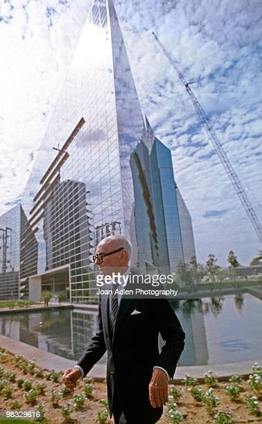 Architect Phillip Johnson outside of his newly constructed Crystal Cathedral in 1980 in Garden Grove, California.