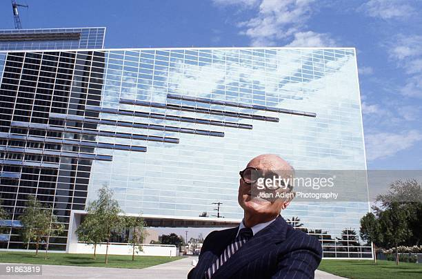 Architect Phillip Johnson poses outside of his newly constructed Crystal Cathedral in 1980 in Garden Grove, California.