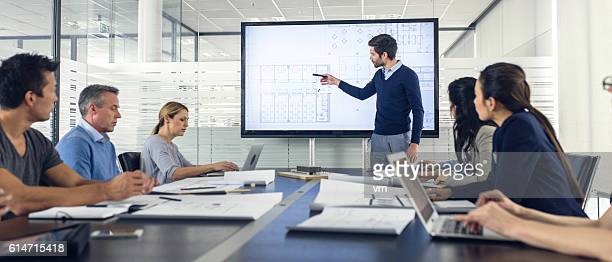 architect presenting project to a group of managers - projection screen stock pictures, royalty-free photos & images