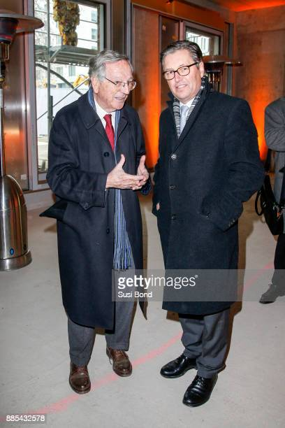 Architect Rafael Maneo and Wilfried Uhr during a press conference to the opening of the art event 'Halt in Berlin Schinkelplatz 3' by HA Schult on...