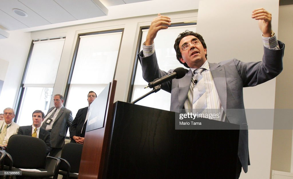 Architect Santiago Calatrava discusses his design for the World Trade Center Transportation Hub project July 28, 2005 in New York City. The Port Authority Board of Commissioners today authorized the $2.21 billion project to be built at the site of the September 11, 2001 terrorist attacks.