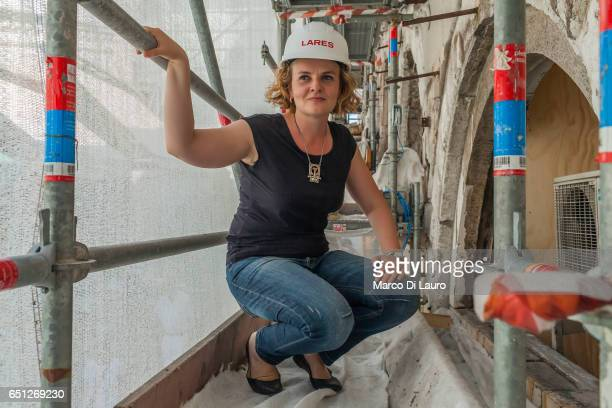 Architect Silvia Boel in charge of the project of the restoration of the famous Rialto Bridge is seen on the scaffolding surrounding the covers of...
