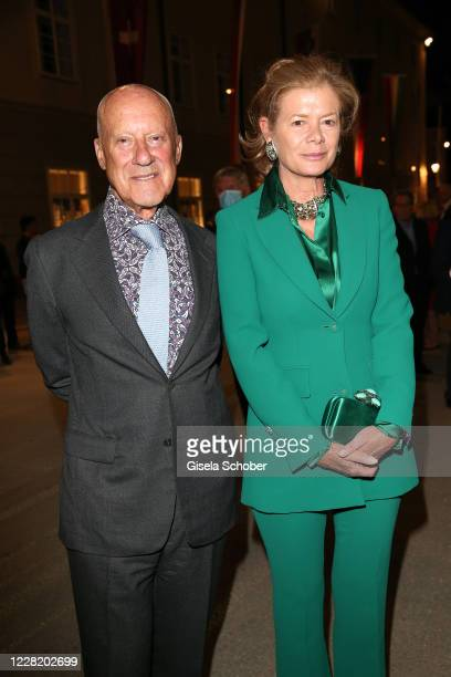 """Architect Sir Norman Foster and his wife Elena Ochoa Foster arrive for the """"Canto Lirico Concert"""" during the Salzburg Festival 2020 at Salzburg State..."""