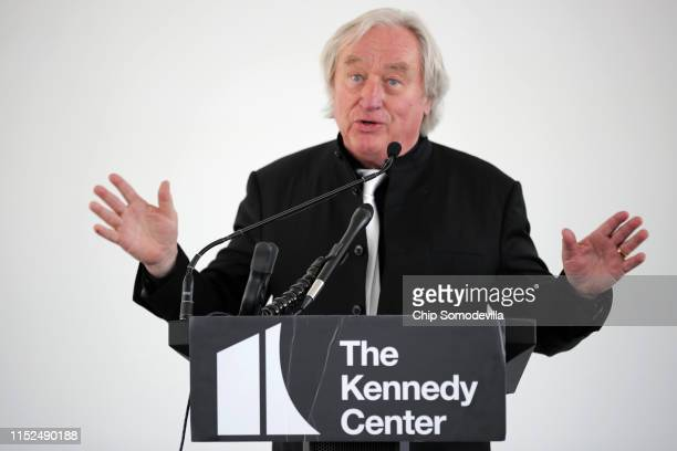 Architect Steven Holl addresses journalists and guests inside the River Pavilion at the nearly finished REACH, an expansion of the Kennedy Center's...