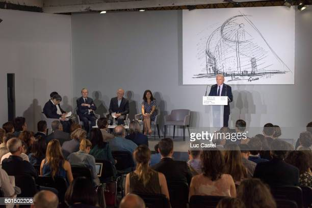 Architect Tadao Ando JeanJacques Aillagon CEO of Kering Group FrancoisHenri Pinault Mayor of Paris Anne Hidalgo and Francois Pinault attend the Press...