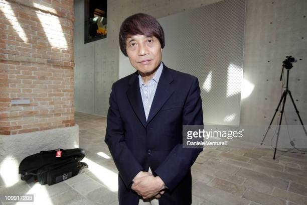 Architect Tadao Ando poses during the press preview at the opening of the new contemporary art centre Francois Pinault Foundation at Punta della...