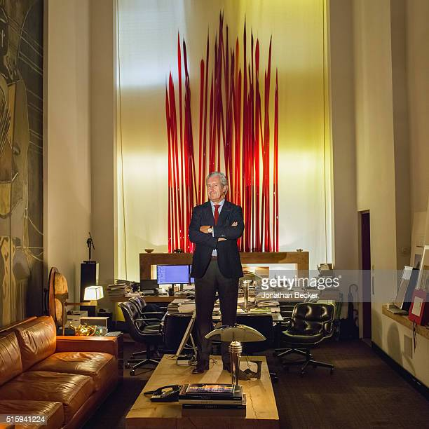 Architect Thierry Despont is photographed for Vanity Fair Magazine on July 21, 2014 in his Tribeca office in New York City. The office features a...