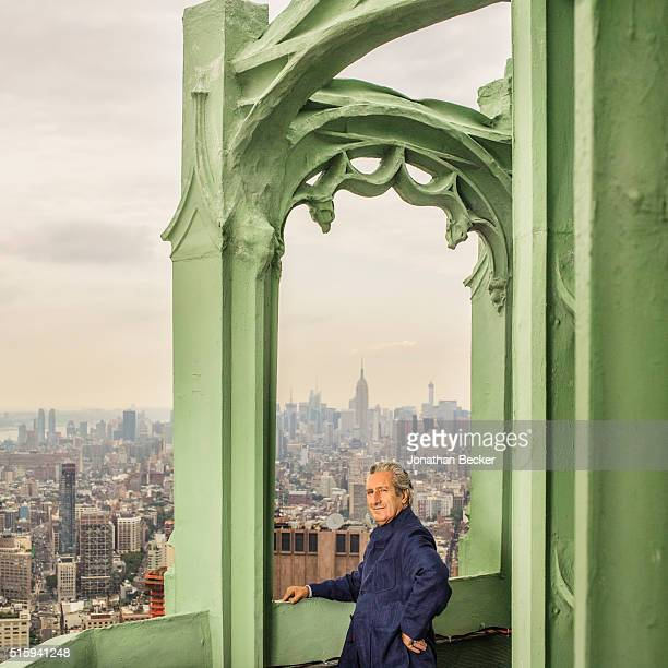 Architect Thierry Despont is photographed in the Woolworth Building's copper-clad spire for Vanity Fair Magazine on July 22, 2014 in New York City....