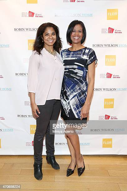 Architect Tonja Adair and interior designer Robin Wilson attend the book signing of Clean Design at FLOR Design Store on April 21 2015 in New York...