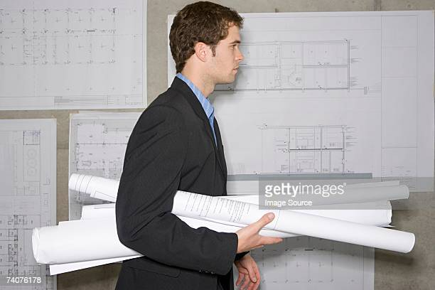 Architect with plans