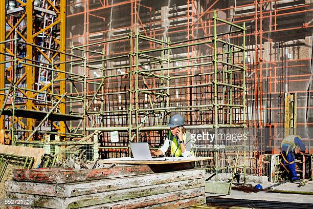 Architect working at construction site