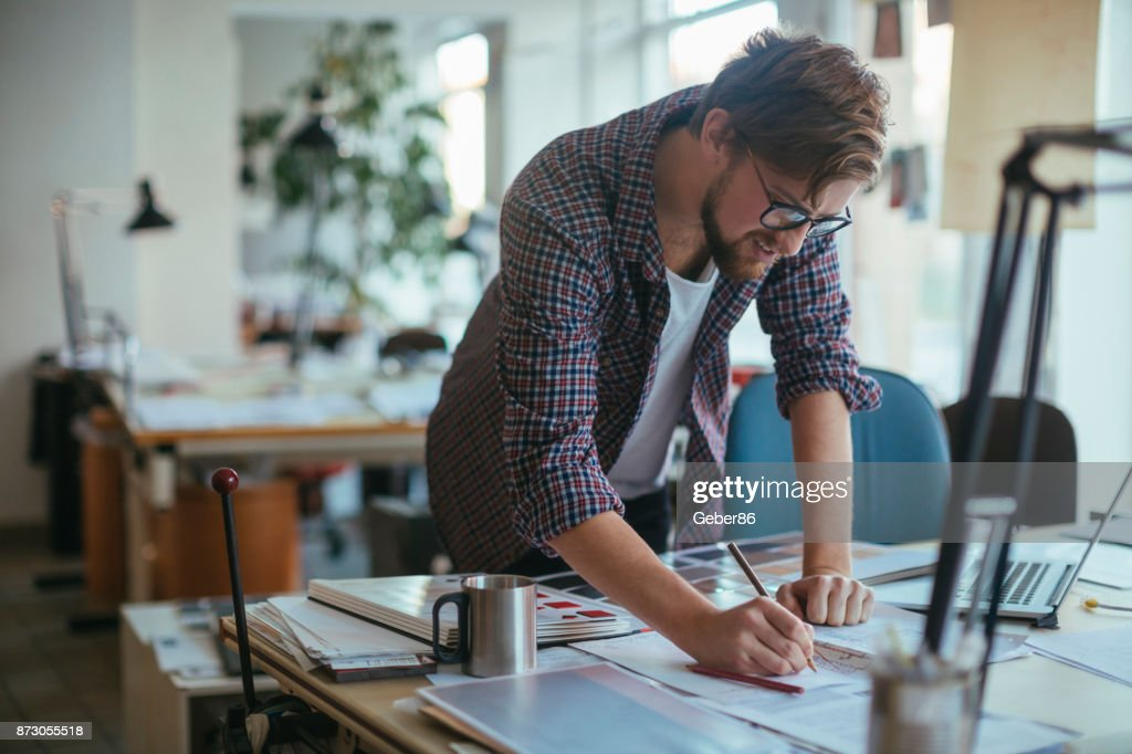 Architect working on a project : Stock Photo