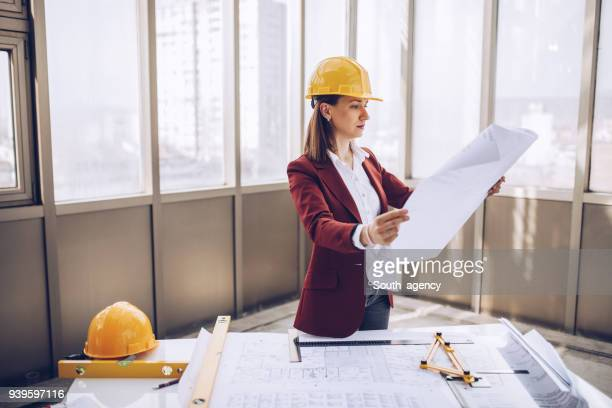 Architect working on construction site
